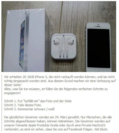 Achtung Facebook Fake - Apple Produkte Gratis