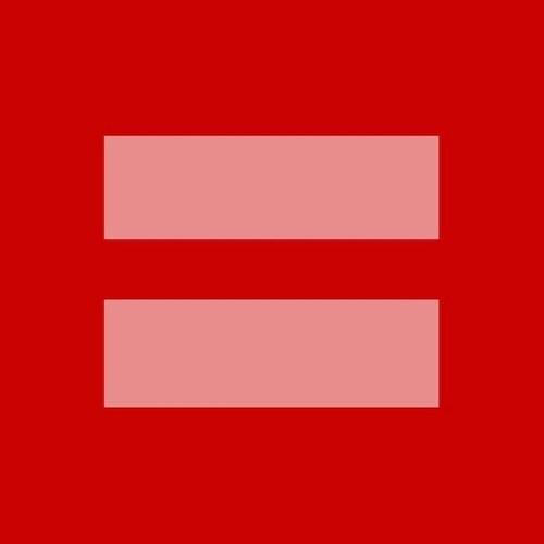 Facebook Aktion: Rosa Gleichheitszeichen auf rotem Grund